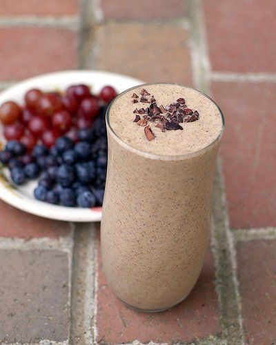Blend together frozen bananas, almond butter, and cocoa nibs to make this smoothie.