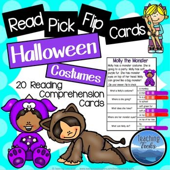 20 Halloween Costumes Reading Comprehension Passages.  These clothespin activities are fun, engaging and purposeful. Kids simply read the short text, clip an answer and flip to check. Children love to self-monitor their reading!