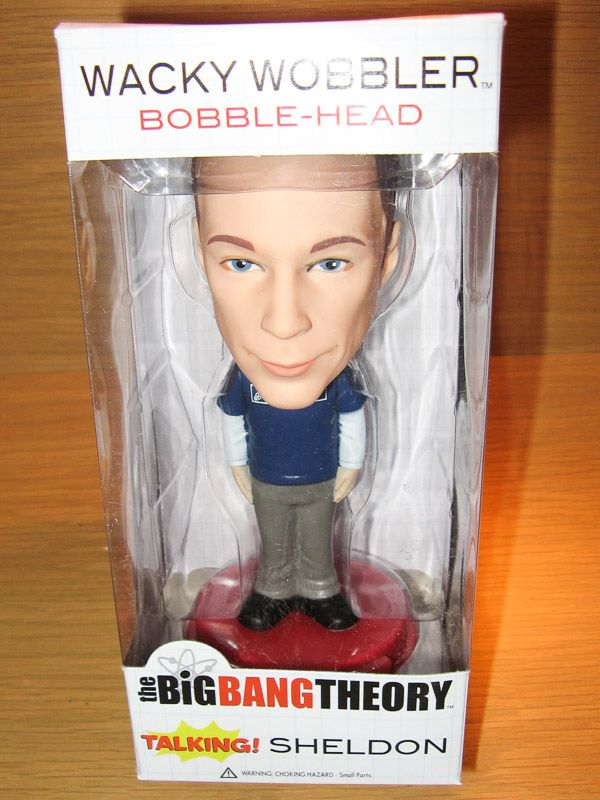 Sheldon, Big Bang Theory Talking Bobble Head.  Bazinga!  Available at Best of Friends Gift Shop in the lobby of Winnipeg's Millennium Library. 204-947-0110 mailto:info@friendswpl.ca