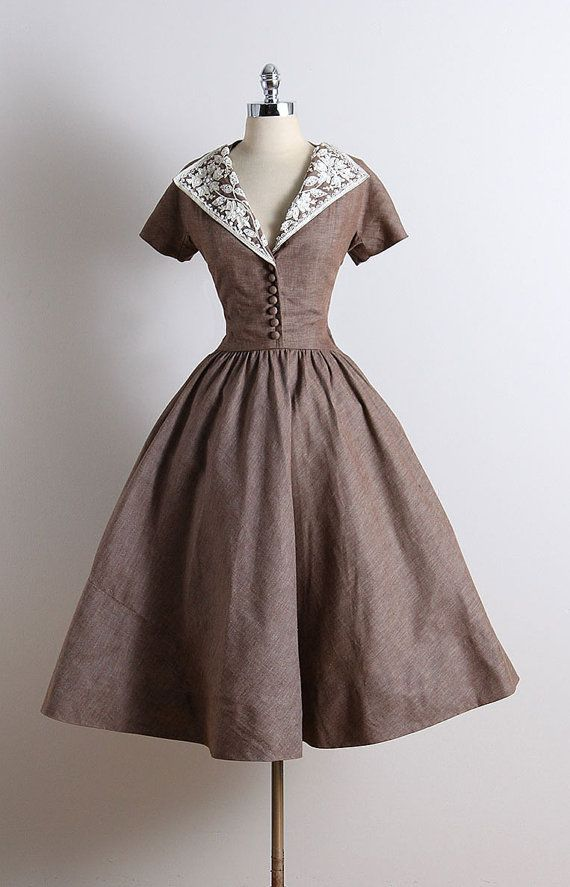 ➳ vintage 1950s dress  * heavy tan cotton linen * button bodice accents * white bead & sequin accents * floral accents * metal side zipper  condition | excellent  fits like small  length 49 bodice 19 bust 38 waist 27  some clothes may be clipped on dress form to show best fit for appropriate size.  ➳ shop http://www.etsy.com/shop/millstreetvintage?ref=si_shop  ➳ shop policies http://www.etsy.com/shop/millstreetvintage/policy  twitter | MillStVintage facebook | millstreetvintage instagram…