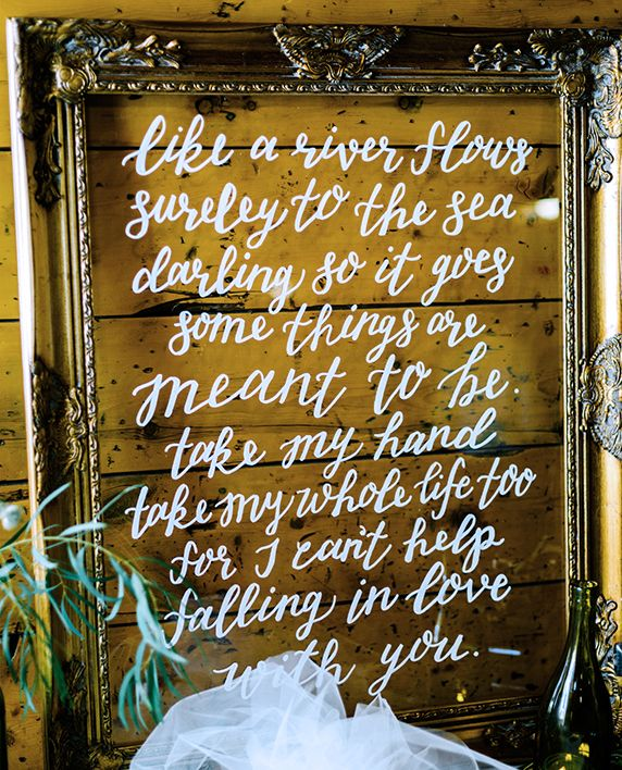 First Dance Song Lyrics Wedding Sign - Can't Help Falling in Love - Hand lettered Calligraphy, Gold Frame Acrylic (like glass)