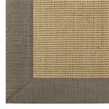 Linen Texture Border Wool Sisal Rug.mushroom w/ wheat sisal
