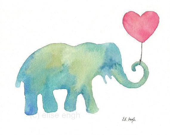 Watercolor Blue and Green Baby Elephant with Pink by GrowCreative, $20.00