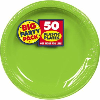 Amscan Big Party Pack Round Plastic Dinner Plate Colour Kiwi
