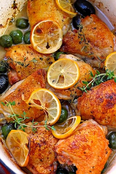 Roasted Chicken Thighs with Lemon and Thyme