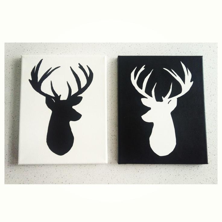 Black Deer Head Silhouette 8x10 Painting