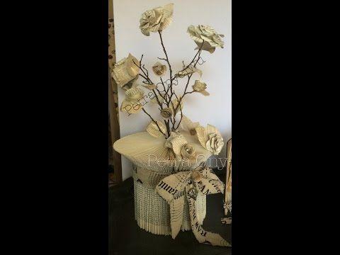 Buch zu einer Vase falten und scheiden - YouTube - wonderful video on completing this vase. Easily followed.