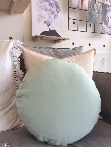 3 Square Round Cushion, 40cm, Mint