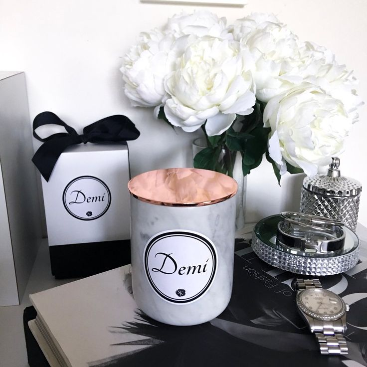 White Carrara Marble Candle - Pure soy candles  www.skcollection.com.au  Peonies - Candles - Gifts - Personalised - Rolex