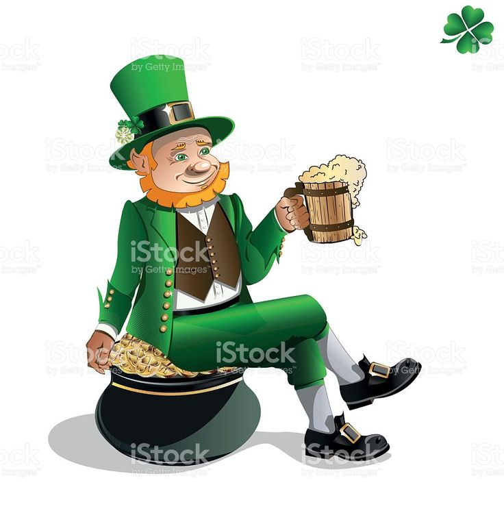 Leprechaun with beer and pot of gold royalty-free stock vector art