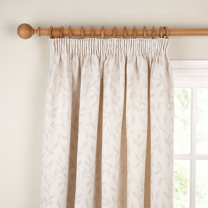 Buy John Lewis Leaf Trail Lined Pencil Pleat Curtains, Stone, W182 x Drop 136cm Online at johnlewis.com