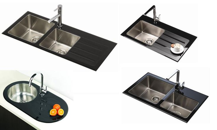 Black Glass Kitchen Sink range  The Novelli Blaq black glass kitchen sink features impact, scratch and heat resistant 8mm tempered designer black glass tops, luxurious deep stainless steel undermount bowls and left/right hand side drainer from Bathrooms and Kitchens Builders Express Underwood, website www.bathroomsnkitchens.com.au