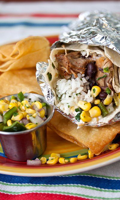 1 lb carnitas or pulled pork, warmed 2 cups cooked cilantro lime rice 1 (15) oz can black beans...