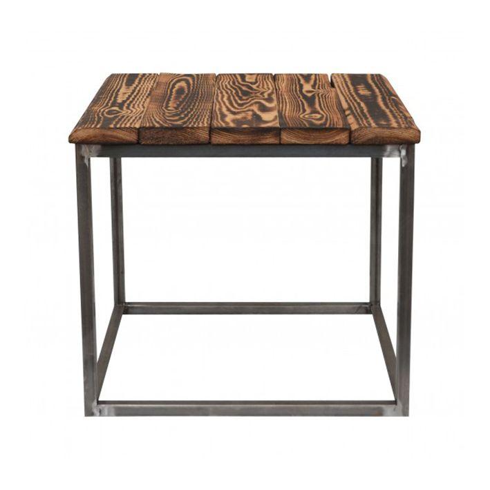 Sofabord fra clarrods med rå brændt træ. Hvert bord er unikt.  Mål: Højde 45 X Bredde 50 X Længde 50 CM