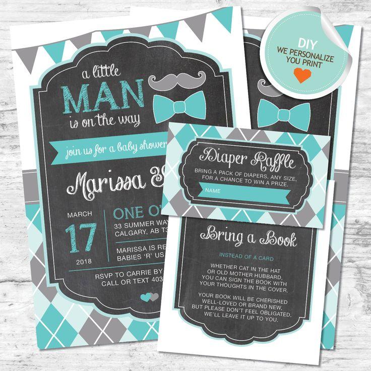 boy baby shower invitations australia%0A DIY Little Man Baby Shower Invitation with Thank You Card  Diaper Raffle  Ticket and Bring