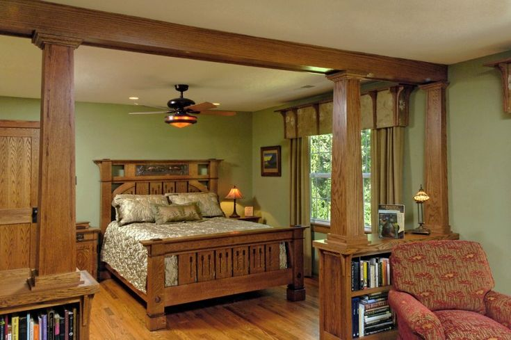 craftsman bedroom idea oak finished bed frame with handcrafted headboard textured & gloss silk bed treatment wooden gate with book shelves underneath of Mission Style Decorating, A Way to Capture Beauty and Warmth to Your Home