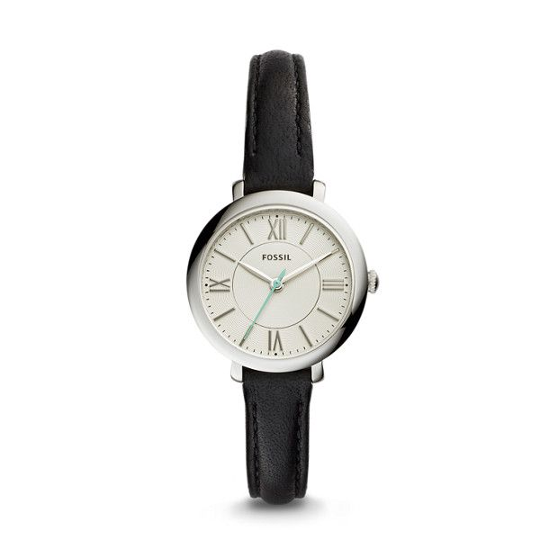 """Mini Jacqueline Three-Hand Date Black Leather Watch, Engraved with """"Always"""" in Roman font"""