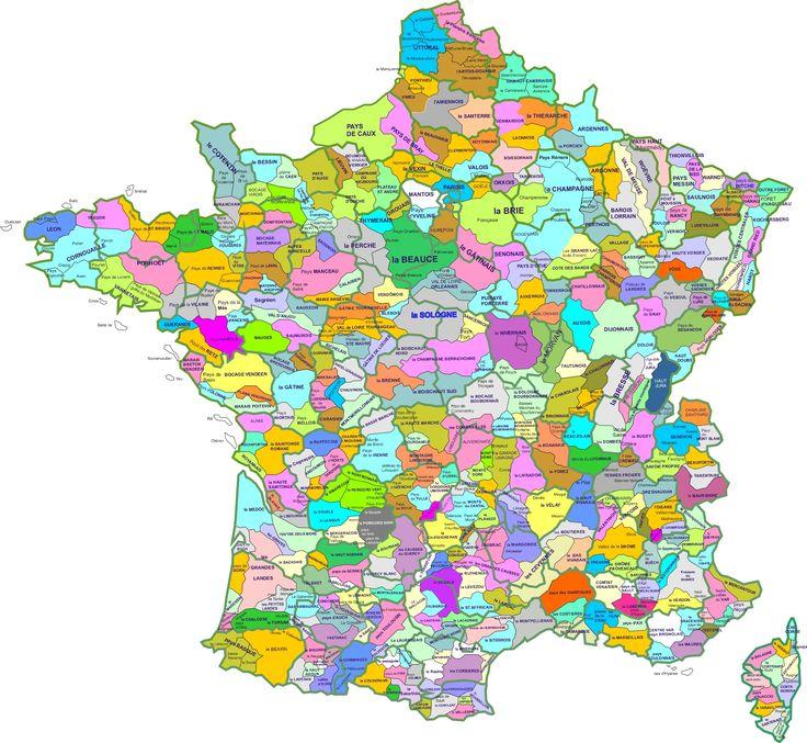 Cette carte, un peu moche, montre les plus de 500 régions naturelles françaises, définies comme «un territoire d'étendue souvent limitée (quelques dizaines de kilomètres) ayant des caractères physiques homogènes (géomorphologie, géologie, climat, sols, ressources en eau) associés à une occupation humaine également homogène (perception et gestion de terroirs spécifiques développant des paysages et une identité …