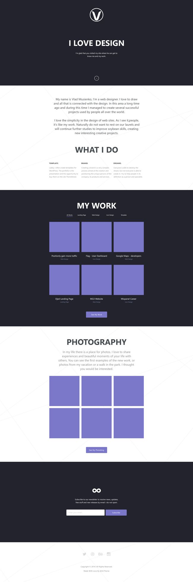 Website: Personal - Responsive One Page Website Theme (PSD, HTML5, CSS3, JS)