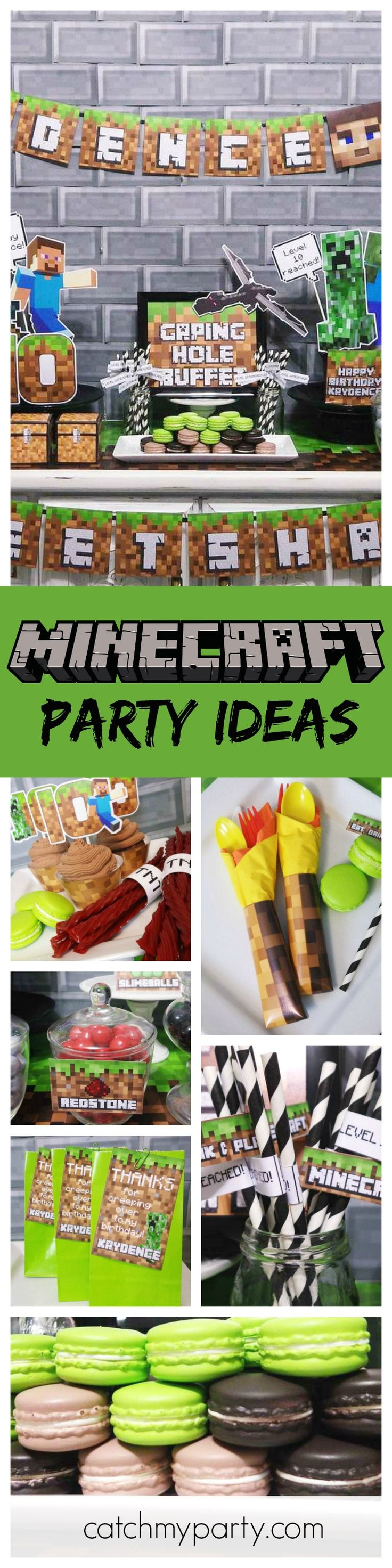 Calling all Minecraft fans! You are going to love this birthday party! Check out that dessert table! See more party ideas and share yours at CatchMyParty.com