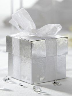 SAMPLE Shiny Silver Square Favour Box & Lid