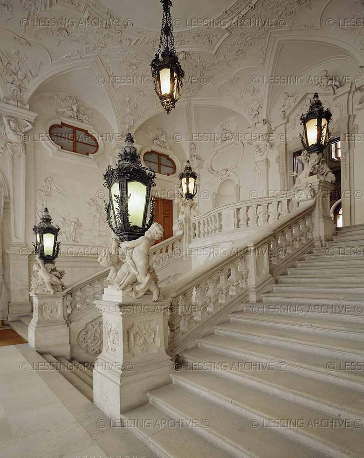 BAROQUE ARCHITECTURE 18TH   Hildebrandt,Lukas von  Belvedere Palace,the summer residence of Prince Eugene of Savoy (1663-1726).The palace was built 1721-1723.Staircase to the main hall on the first floor.   Belvedere Palace, Vienna, Austria