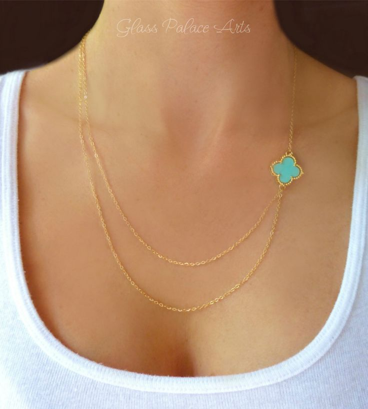 Layered Double Strand Turquoise Necklace - Asymmetrical Sideways Charm Necklace