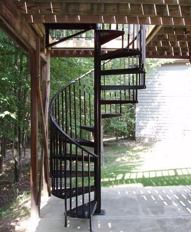 17 best ideas about deck stairs on pinterest lights for - Spiral staircase exterior aluminum ...