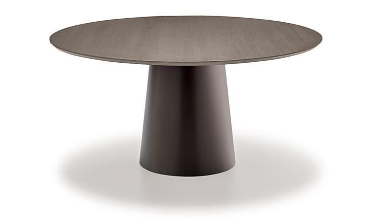 Dining table with stainless steel or lacquered metal base, various finishes. Multi-layer Finnish birch wood top 26mm. thickness, 45°-cut edge, walnut or oak veneered, brushed or saw cut finish.