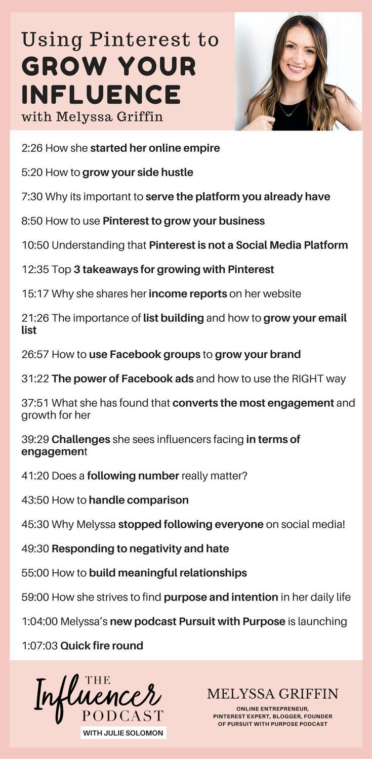 Using Pinterest to Grow Your Influence & Pursuing Your True Purpose with Melyssa Griffin, the influencer podcast with Julie Solomon, blogging expert. Pinterest Tips, Social Media Hacks, List building, grow your email list, how to use facebook groups.