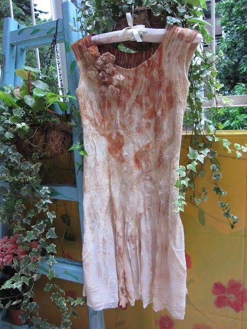 Nuno felt and eco print dress. blog http://terriekwong.blogspot.com/2012/07/bugs-triggered-me.html