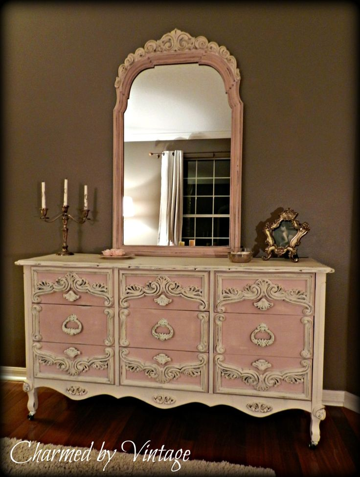 Antoinette Pink and White Shabby French Dresser and Mirror. $595.00, via Etsy.