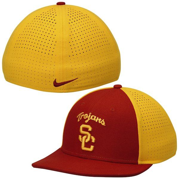 aa6cb687fe1 Nike USC Trojans Cardinal Gold Players True Vapor Swoosh Dri-FIT Performance  Hat