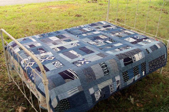 Quilt Indigo Custom Order Japanese Boro Farmer Primitive Textile Denim Chambray Mid Century Blue & White