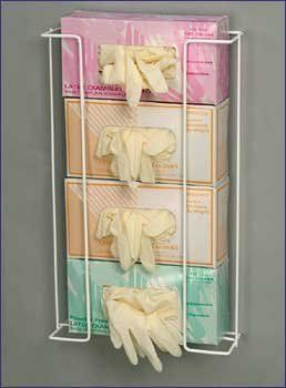 """4 Box Exam Glove Dispenser, Upright Space Saver, White Epoxy Coated, 4064 by Rack'em. $35.40. Glove Dispenser,Organize latex, vinyl and nitrile exam gloves for quick and easy access. Holds all glove sizes used in one convenient rack.Holds 4 Boxes, Dimensions: 20""""H x 11.25""""W x 4""""D, 1 Rack, White"""