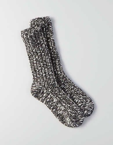 AEO Donegal Slub Crew Socks , Charcoal | American Eagle Outfitters
