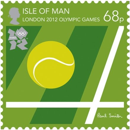 Royal Mail 76p postage stamp celebrating the London 2012 Olympic Games - this stamp promotes The Isle of Man for the Tennis event and was designed by British fashion designer Sir Paul Smith