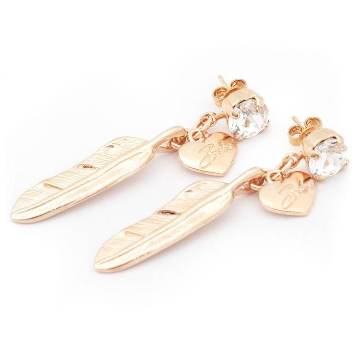 Bibi Bijoux large Gold feather earrings, with Swarvoski Crystals. £50