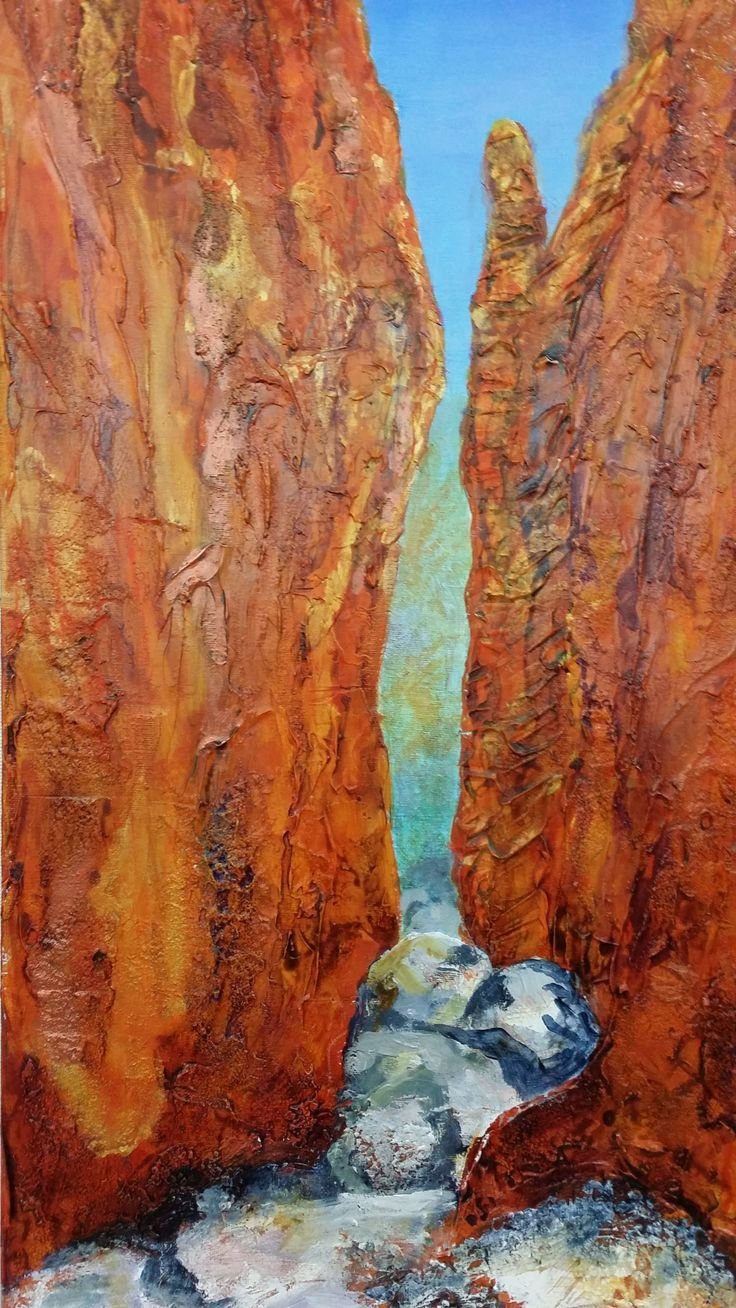 Artist: Anne Balcomb  'Chasm'  Acrylic  70 x 30cm - Allsorts exhibition 19 March - 12 April 2015, Strathnairn Arts