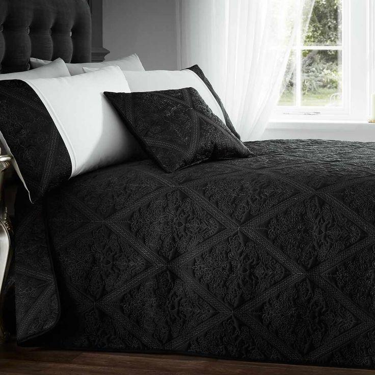 Lucy Ann Black Bedspread 220cm x 230cm