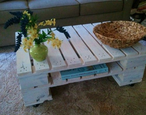 This would be cute for an outdoor coffee table. It is made of two pallets cut down to size and stacked on top of each other. then wash pallets with a mix of water and white paint. The final touch was to add casters to move the table