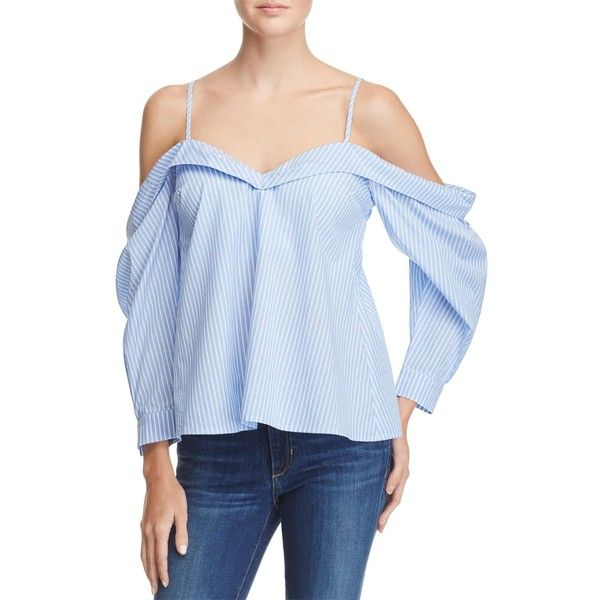 Bardot Paloma Off-the-Shoulder Stripe Top ($84) ❤ liked on Polyvore featuring tops, light stripe, shirt top, off the shoulder shirts, off shoulder tops, stripe top and bardot top
