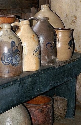 I love to decorate with old crocks and jugs!