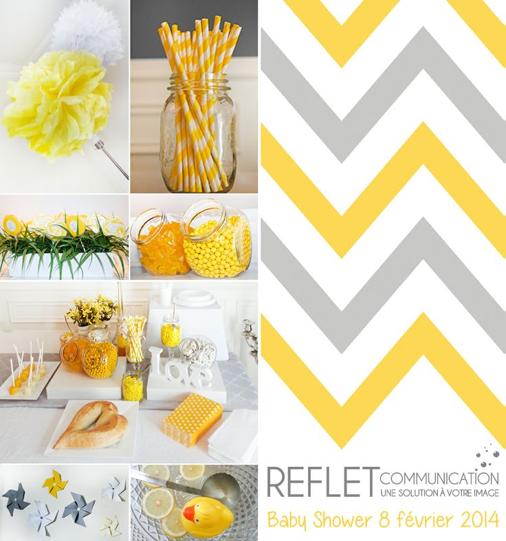 Création et organisation refletcommunication.ca : shower bébé jaune gris, table à bonbons - baby shower yellow grey, candy bar