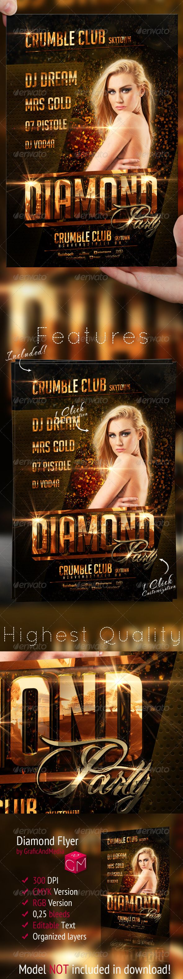 Diamond Nightclub Flyer Template  #GraphicRiver        Diamond Party Flyer Templ…