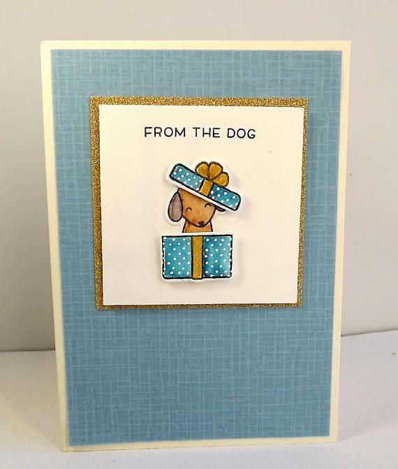 Card with a dog sitting in a box with the sentiment  From the