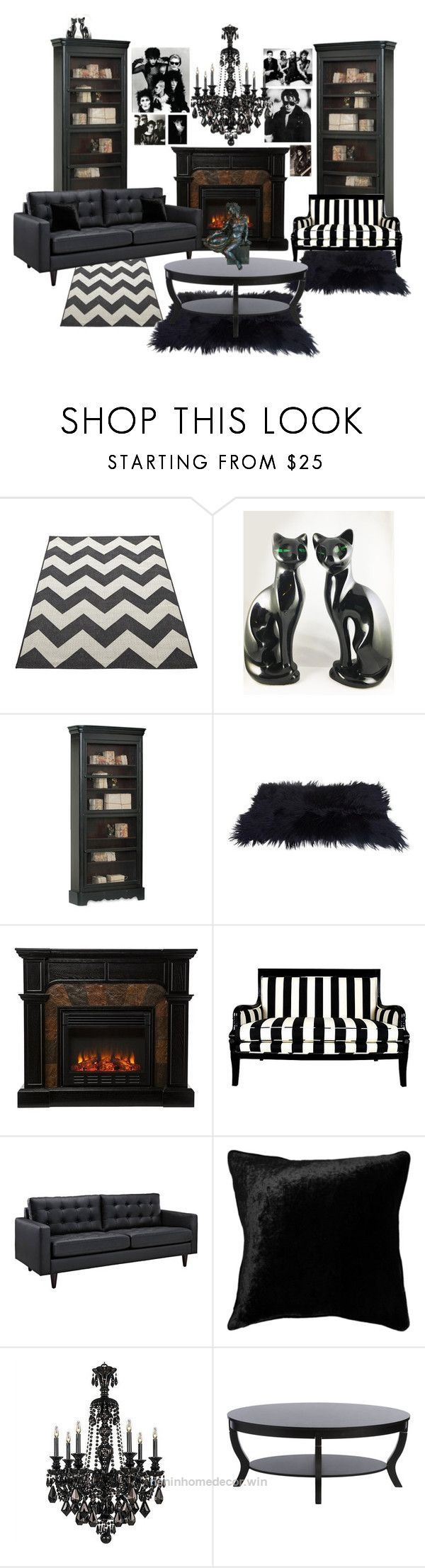 "Adorable ""Gothic Living Room"" by mistyghosts ❤ liked on Polyvore featuring interior, interiors, interior design, home, home decor, interior decorating, Home Decorators Collection, Squarefeathers, .."