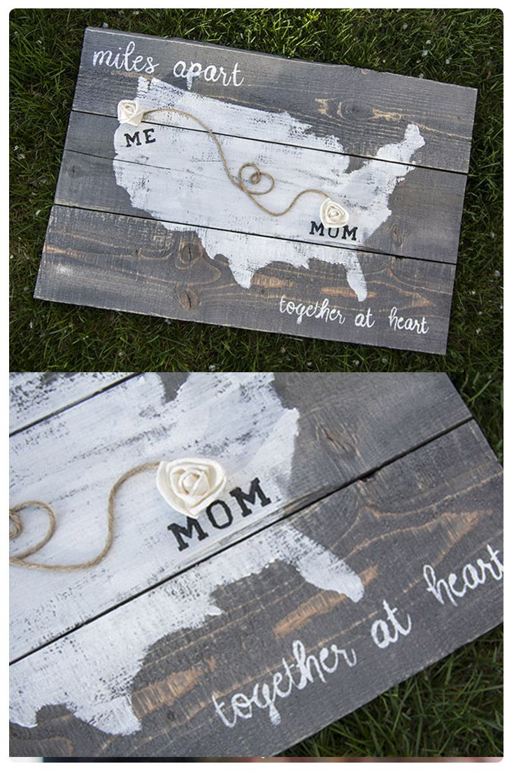 Does mama live too far? Show her your love with this personalized pallet wood sign is the perfect gift to any long distance moms! Select each state, and city and we will place a wood flower on each location. Twine combines the two locations. @myecoflower