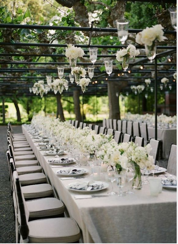 Preston Bailey Bride Ideas, Gray and white table setting for wedding