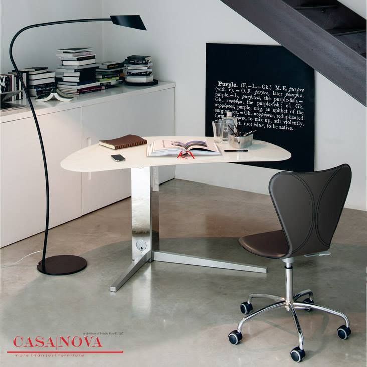 Desk with stainless steel base. Top in extra clear white painted glass, black painted glass, walnut canaletto or wenge. FOR INQUIRY CALL US at  971 434 74577,  971 433 86180,  971 433 47782 http://casanovadubai.com